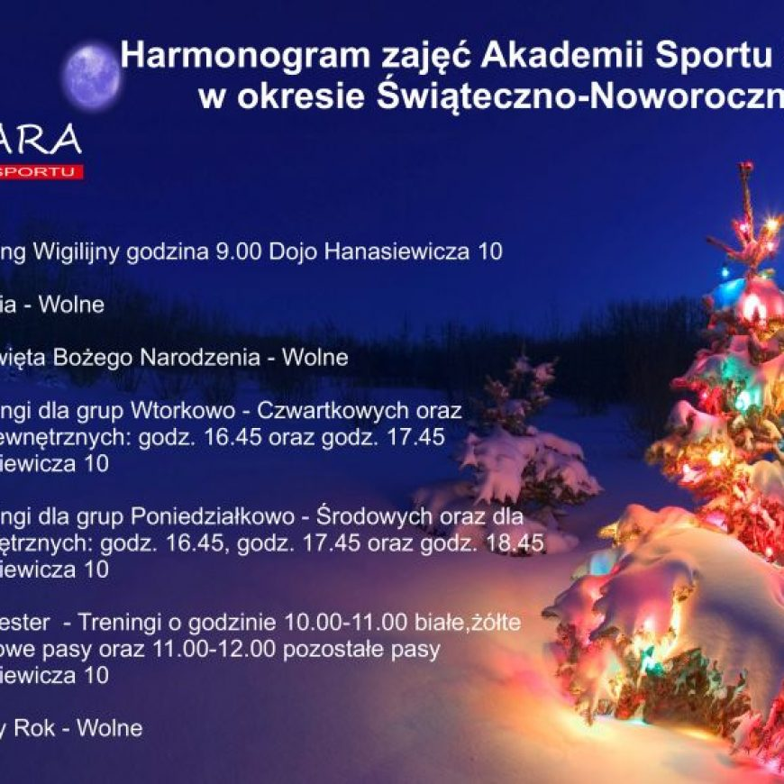 Harmonogram zajęć Akademii w okresie Świąteczno-Noworocznym