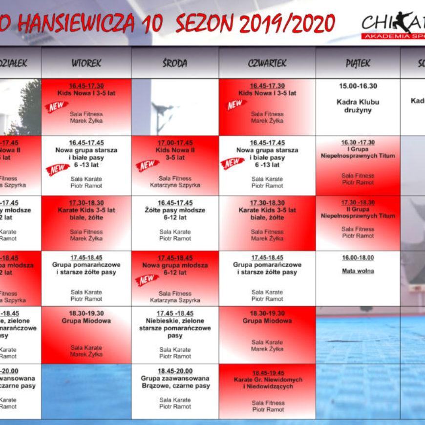 Harmonogram zajęć Akademii Sportu na Hanasiewicza od września 2019